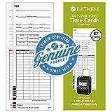 Lathem Universal Payroll/Job Time Cards, Double-Sided, for Lathem 7000E / 7500E Time Clocks, 100 Pack, E79-100