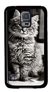 Diy Fashion Case for Samsung Galaxy S5,Black Plastic Case Shell for Samsung Galaxy S5 i9600 with Computer Cat
