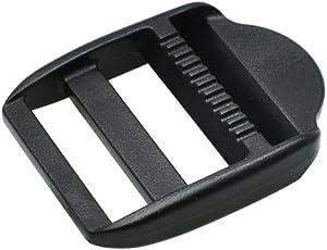 """sacoora 10pcs Ladder Lock Slider Plastic Buckles Backpack Straps Webbing Black (1""""(25mm))"""