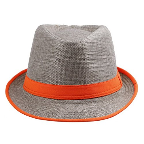 Toyobuy Women Chic Colorful Neon Brim Strip Straw Fedora Sun Trilby Cap Orange