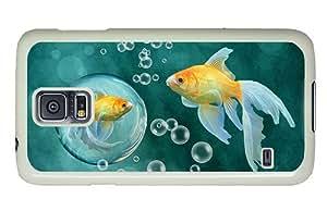 Diy Samsung S5 case coolest Goldfish bubbles PC White for Samsung S5,Samsung Galaxy S5,Samsung i9600