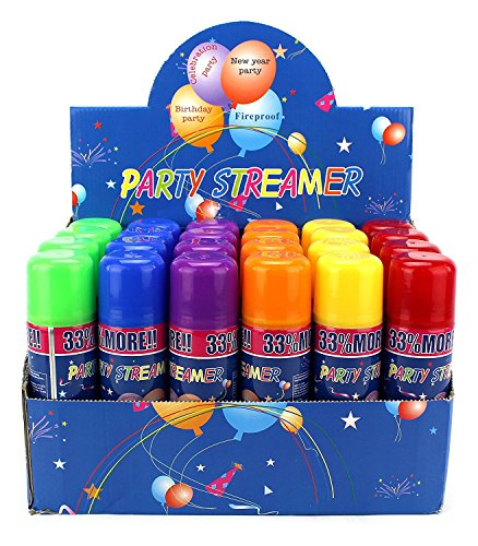 AJ Toys & Games 48 Pcs 2 Boxes of 24 Party Streamer Spray String In Cans, Children's Party Supplies, Perfect For Parties/Events ()