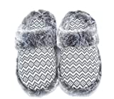 Ofoot Women's Cashmere Knitted & Plush Memory Foam Anti-slip Indoor Slippers with TPR Sole (9-10 B(M) US, White with Gray Stripe)