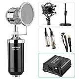 Neewer® NW-1500 Microphone Kit: (1)Microphone with Iron Desk Stand, Shock Mount and Pop Filter+(1)48V Phantom Power Supply with Adapter+(1)Audio Input Cable+(1)Mic Cable 1/4\