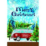 Lantern Hill Merry Christmas Peace Van Garden Flag; 12.5 inches x 18 inches; Winter Holiday Decorative Banner