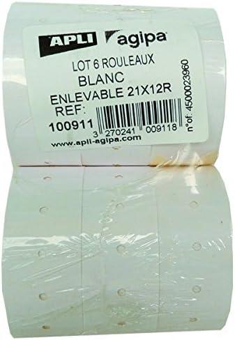 APLI 100910 - Pack de 6 rollos para etiquetadora, color blanco & AmazonBasics - Tijeras con mango suave y cuchilla de titanio (20 cm, pack de 1): Amazon.es: Oficina y papelería