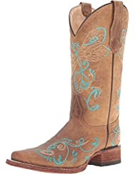 Circle G Womens Embroidered Dragonfly Cowgirl Boot Square Toe Tan 5 M US