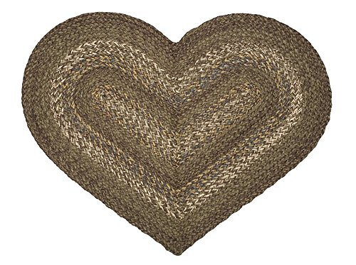 IHF HOME DECOR 20 X 30 Heart Shaped Braided Area Rug Country Style New Lake Forest Design Jute Fabric