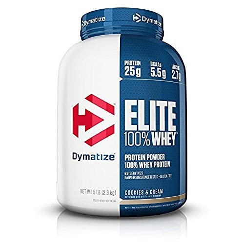 Dymatize Elite 100 Whey Protein Supplement Powder Pre and Post Workout Protein Powder 5 lbs 2 26 kg Cookies And Cream