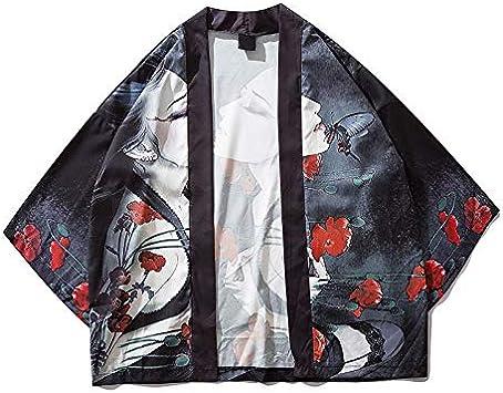 DXHNIIS Punto Abierto Manga Tres Cuartos Kimono Hombres Mujeres Camisa de Hombre Sun Protect Camisas para Hombres XXL Negro: Amazon.es: Deportes y aire libre