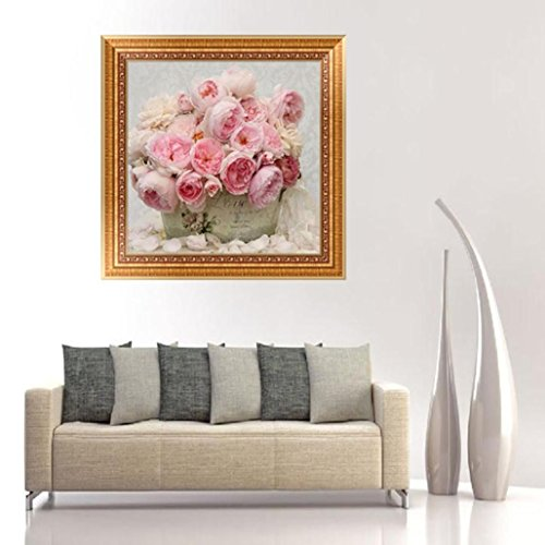 inting by Number Kit,YOYORI Rhinestone Embroidery Pasted Diy Painting Cross Stitch Kit Drill Arts Craft Wall Sticker (Pink Peony Basket) (Butterfly Dreams Flower Girl Basket)