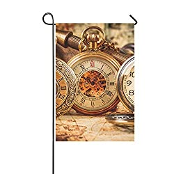 KNEVFLOW Home Decorative Outdoor Double Sided Division Time Zones USA Act On Standard Time Clock Garden Flag,House Yard Flag,Garden Yard Decorations,Seasonal Welcome Outdoor Flag 12 X 18 Inch Gift