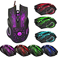 Makalon Colorful 6 Button 5500 DPI LED Optical USB Wired Gaming PRO Mouse Mice For PC Laptop