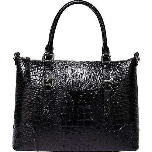 (Vicenzo Leather Marvee Croc Embossed Leather Tote (Black))
