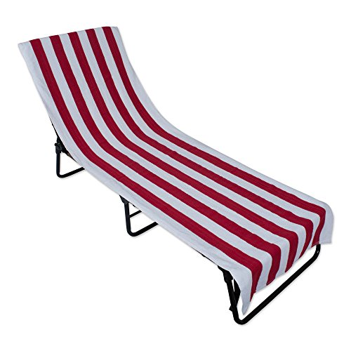 J&M Home Fashions Stripe Beach Lounge Chair Towel with Fitted Top Pocket (26x82 - Red) Soft, Absorbent, and Fast Drying for Covering Pool Chairs While Swimming, Lounging, or Tanning