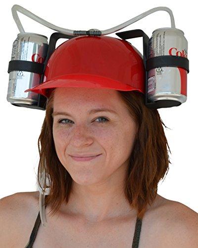Fairly Odd Novelties Beer Soda Guzzler Helmet Drinking Party Hat, Red ()