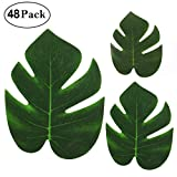 Cusfull 48Pcs Tropical Palm Leaves Plant Imitation Leaf-Waterproof Artificial Leaf Placemats-Hawaiian/Luau/Jungle Party Table Decorations