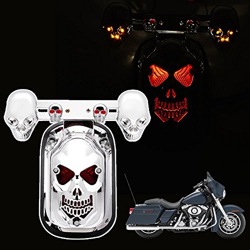 Candance(TM) Skull Integrated Rear Tail Light Side Mount Plate w/ Turn Signal for Harley Honda Suzuki Kawasaki Yamaha / Motorcycle Skull LED Rear Tail Light Mount Plate for Harley Yamaha Classic Bikes MOTORCYCLE SKULL LED INTEGRATED REAR TAIL LIGHT SIDE MOUNT PLATE FOR HARLEY Motorcycle Cruiser Red Turn Signal LED Tail Brake Stop Light (White) -