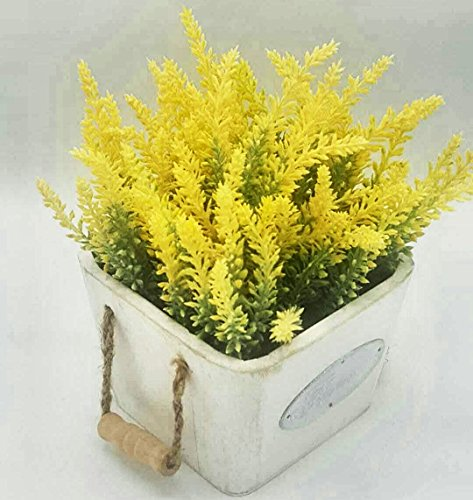 Yellow Pot Artificial (LODESTAR Artificial Fake Yellow Lavender Flower Bouquet in White Ceramic Pot Indoor Outdoor Home Decoration)