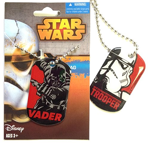 Star Wars Double Sided Darth Vader & Storm Trooper Dog Tag - Officially Licensed Disney Product ()