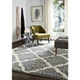 Safavieh Daley Power-Loomed Shag Area Rug-5 /1  X 7 /6,grey/ivory