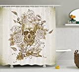 Ambesonne Skulls Decorations Collection, Skull with Roses Day of The Dead Sign Horror Mexican Traditional Art , Polyester Fabric Bathroom Shower Curtain Set with Hooks, Vanilla White Ivory