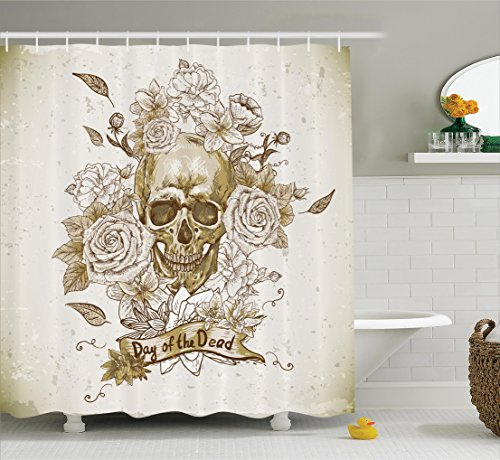 Ambesonne Skulls Decorations Collection, Skull with Roses Day of The Dead Sign Horror Mexican Traditional Art , Polyester Fabric Bathroom Shower Curtain Set with Hooks, Vanilla White (Day Of The Dead Curtains)