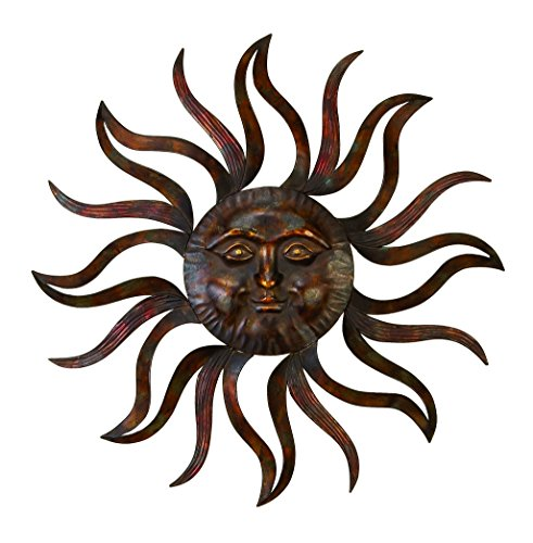 Deco 79 97918 Metal Sun Wall Decor Feel Every Morning More Fresh (Outdoor Metal Wall Hangings)