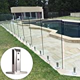 Dacyflower Pool Stainless Steel Glass Fence Clip, Glass Panel Post Balcony Glass Floor Clamp Swimming Pool Glass Clip Floor Glass Fixed Fittings for Home Garden Stairs Railing