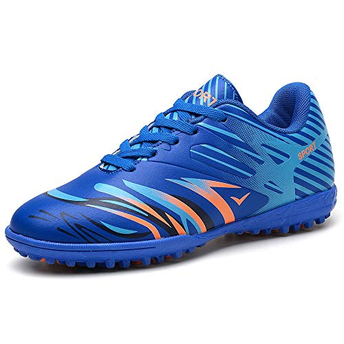 YING LAN Boys Girls Turf Cleats Soccer Athletic Football Outdoor/Indoor Sports Shoes AG Blue 12