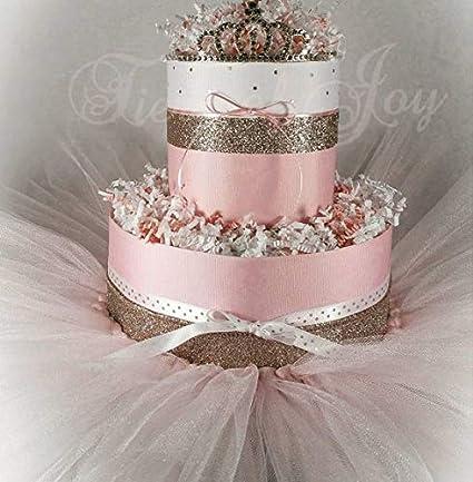 Awe Inspiring Amazon Com Pink Gold Mini Diaper Cake Tiara Tutu Baby Girl Baby Funny Birthday Cards Online Amentibdeldamsfinfo