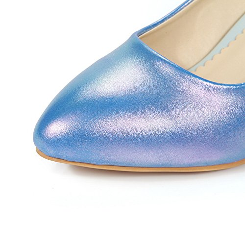 BalaMasa Womens Low-Cut Uppers Winkle Pinker Imitated Leather Pumps-Shoes Blue 8aLbexnxYN