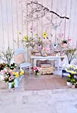 Baocicco 6x8ft Spring Indoor Fresh Flowers Decorations Photo Backdrop Branches Wooden Wall Backdrop for Photography Wallpaper Baby Room Children's Party Children Adults Portrait Studio Video Prop