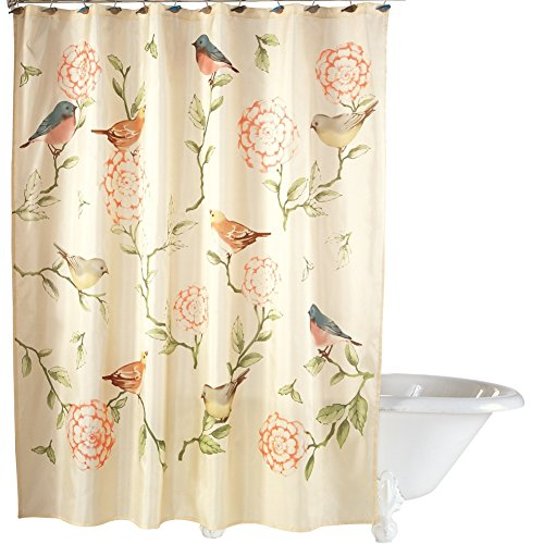 Birds and Blooms Floral Shower Curtain, Machine Washable (Birds Shower Curtain)