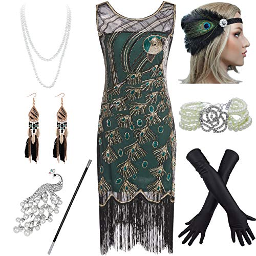 1920s Vintage Peacock Sequin Fringed Party Flapper Dress w 20s Accessories Set (XL, Green)