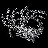 Karina Rhinestone Rhodium Hand Wired Twigs Ribbon Wedding Bridal Hair Comb
