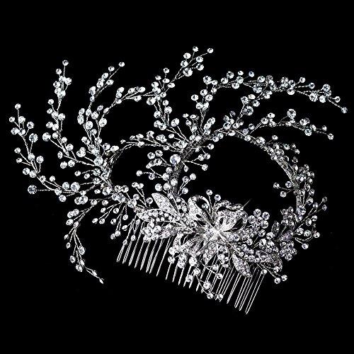 Karina Rhinestone Rhodium Hand Wired Twigs Ribbon Wedding Bridal Hair Comb by Fairytale Bridal Tiara