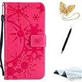 Galaxy S7 Edge case,TOUCASA PU Leather Wallet Magnetic Case Card Slots Cash Holder Kickstand Flip Book Case with Snowflake in Sunshine Design for Samsung Galaxy S7 Edge + Free Touch Stylus Pen & Dust Plug-Red
