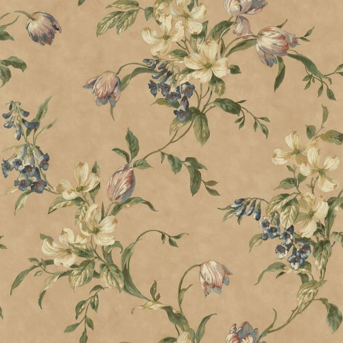 Waverly 5508251 Tulip Trail Wallpaper, Gold, 20.5-Inch