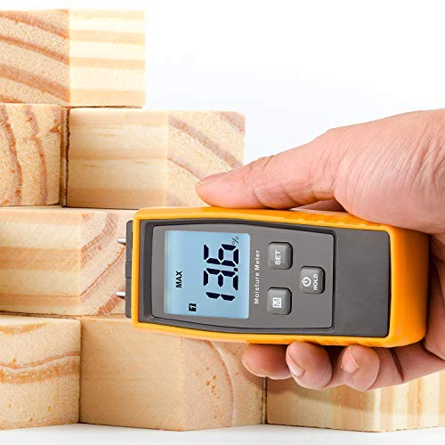 Water Leak Detector and Thermometer for Wood /& Building Materials Spare Pins Included MEEARO Digital Moisture Meter