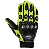Motorcycle Gloves,Dirt Bike Motocross Motorbike Power Sports Racing Gloves Steel Reinforced Knuckle (Green,L)