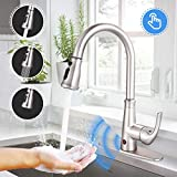 Touchless Kitchen Faucet, Dalmo DAKF5F Brushed Nickel Kitchen Faucet with Fingerprints Resistant, Single Handle Sensor Sink Faucet with 3 Modes Pull Down Sprayer, Metal Deck Plate