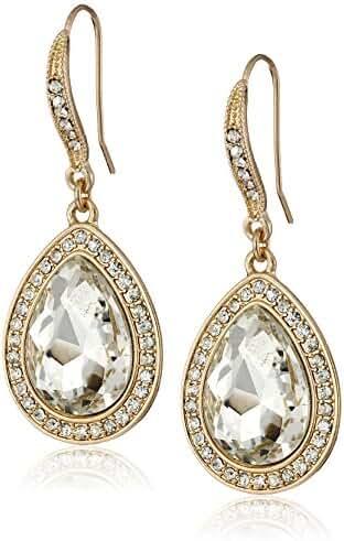 Heirloom Finds Gold Tone Faceted Clear Crystal Teardrop Dangle Earrings