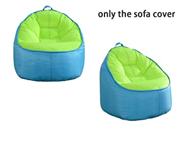 QuWei Childrens Sofa Chair Print Filling Bean Bags DIY Cloth Sets Sky Blue