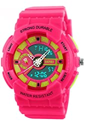 Fanmis Women's Men's Sporty Design Multifunctional Analog Digital Waterproof Wrist Watch Pink