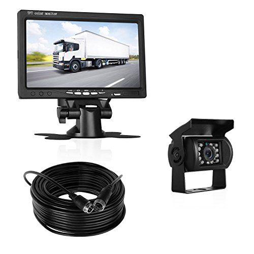 LeeKooLuu Backup Camera and 7'' Display TFT Monitor Kit Waterproof Night Vision Parking system with 66 ft 4-Pin cable single power Rear view/Full time view Optional For Truck/Trailers/Campe/Motorhome