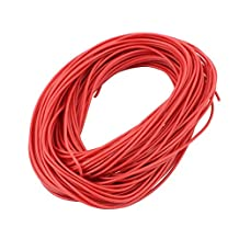 uxcell® 20M 24AWG 3KV Electric Copper Core Flexible Silicone Wire Cable Red for RC