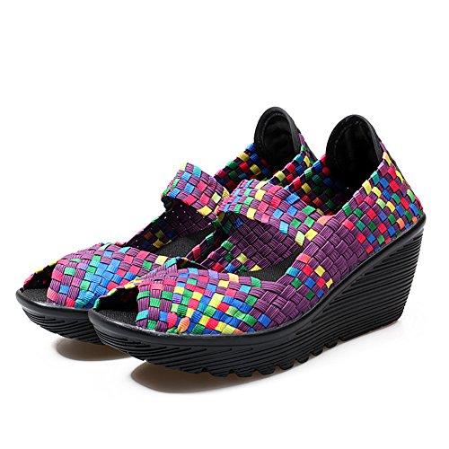 Laiwodun Schuhe Heel Schuh Komfort High Plateau Frauen Damen Lila Wasser Lässig Atmungsaktiv Gewebt Elastic Sommer Sandalen On Trainer Slip r1zgrw