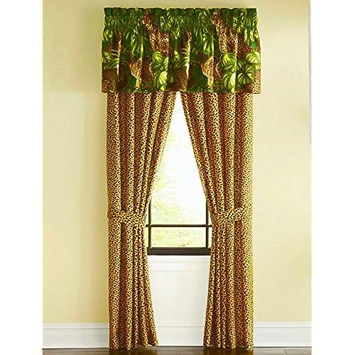 Safari CHEETAH LEOPARD CATS Unlined With Palm Leaf Foliage 4p Drapery Set84x 842 Panels W 2 Tiebacks