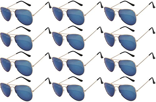 12 Pieces Wholesale Lot Aviator Sunglasses. Assorted Colored Mirror Lens Gold Frame Fashion. Bulk Sunglasses - Wholesale Bulk Party Glasses, Party Supplies. (Blue ()